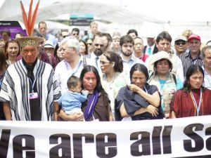 Saweto tribe protests at COP20 (Image Credit: Luka Tomacrs).