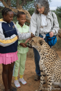 Students with cheetah (Source: Suzi Esterhas)