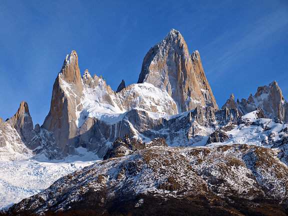 Mount Fitz Roy in Patagonia, Argentina. The prominent peak on the right is Cerro Fitz Roy, which inspired the logo of Patagonia, Inc. (Image: Todor Bozhinov)