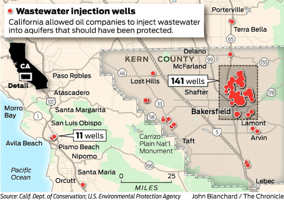 A map of California's wastewater injection wells. (Image Credit: John Blanchard / The Chronicle)