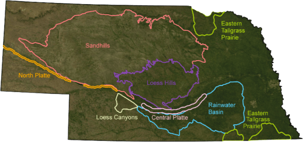 Nebraska's ecoregions (Source: The Sandhills Restoration Plan / U.S. Fish and Wildlife)
