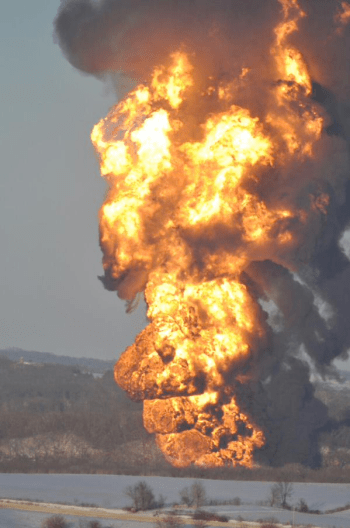 On March 5, a BNSF Railway train derailed and two of its cars burst into flames in Galena, Illinois. (Photo via Twitter)