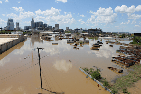 Flooding in downtown Nashville, Tennessee following torrential rains in May 2010. (Image: Kaldari / WikiMedia Commons)