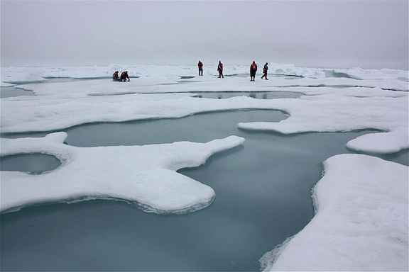 Scientists take samples from Arctic sea ice and melt ponds in the Chukchi Sea, 2010. (Image Credit: Kathryn Hansen / NASA)