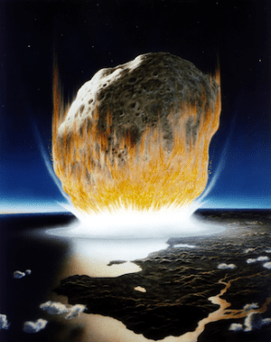 An artist's conception of a massive asteroid crashing into Earth. (Image Credit: Don Davis, NASA)