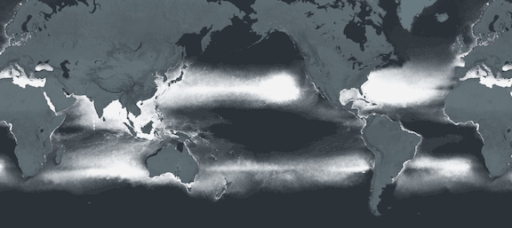 A mapping of the plastic smog that pervades our oceans. (Image via 5 Gyres Institute)