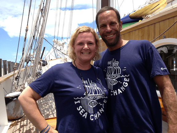 Caroleigh Pierce and Jack Johnson on the Sea Change Expedition. (Photo Credit: 5 Gyres)