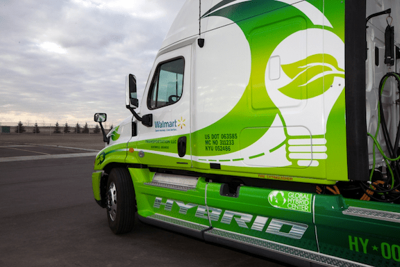 One of Walmart's hybrid-assist trucks, part of Walmart's sustainability initiative. (Photo Credit: Walmart / Flickr)