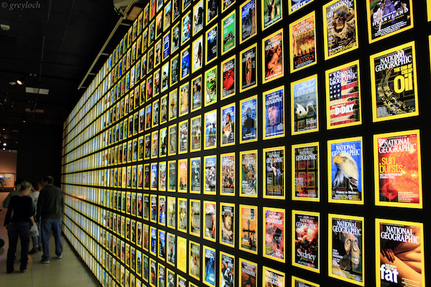National Geographic Magazine covers display. (Photo Credit: Greyloch / Flickr)