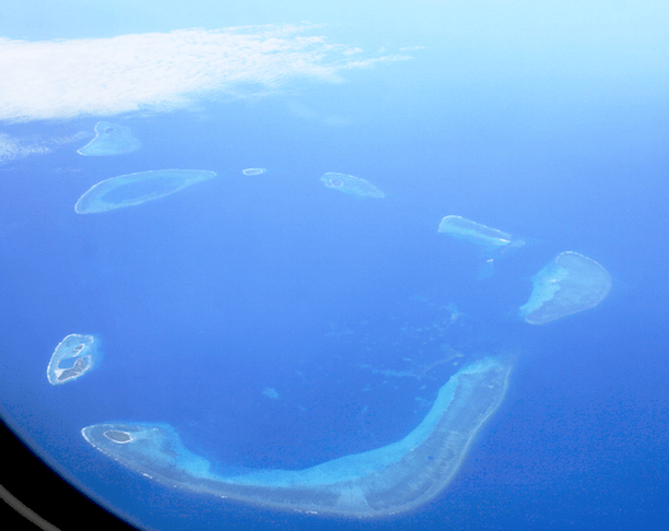 Aerial photograph of the Crescent Group, Paracel Islands. (Photo Credit: Teofilo / WikiMedia Commons)