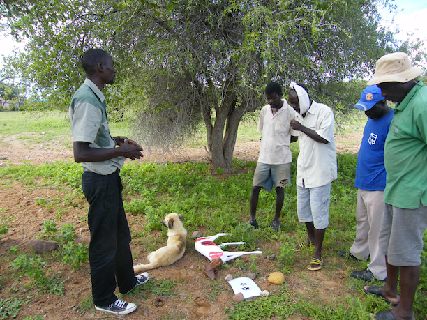Farmer training meeting using predator identification models that show predation based on what animal parts are eaten. (Photo: CCF)