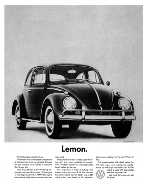 "VW's famous 1960 ""Lemon"" ad. (Source: Julian Koenig / Helmut Krone)"