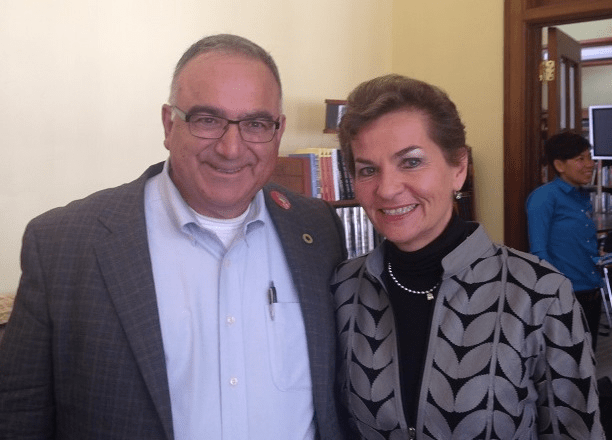 Michael Paparian and United Nations Framework Convention on Climate Change Executive Secretary Christiana Figueres, June, 2015.