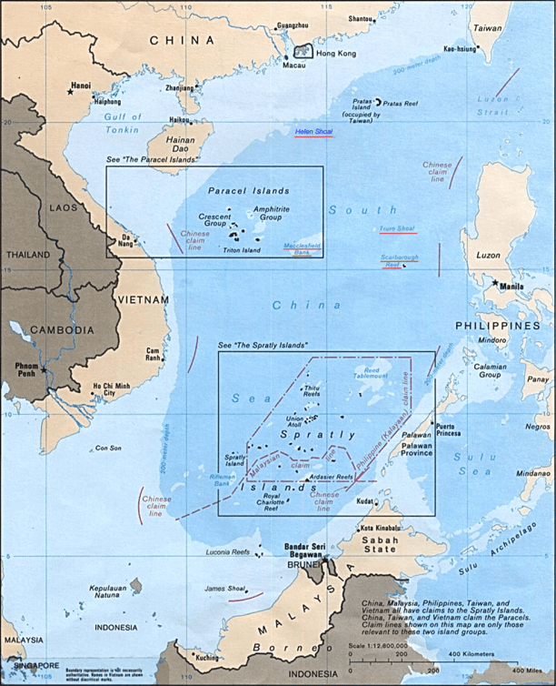 Map showing territorial claims in South China Sea. (Image Credit: U.S. Central Intelligence Agency / Perry-Castañeda Map Collection)
