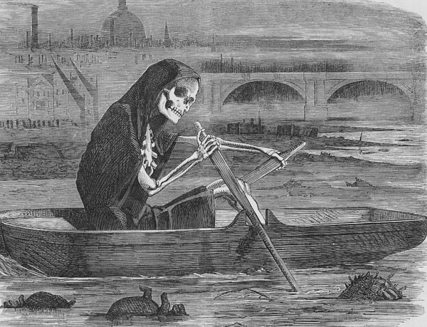 """The Silent Highwayman,"" an illustration from Punch Magazine in July 1858, the year of ""The Great Stink."" The event occurred in London between July and August. The hot summer weather increased the pungency of the human waste and industrial effluence rotting in the River Thames."