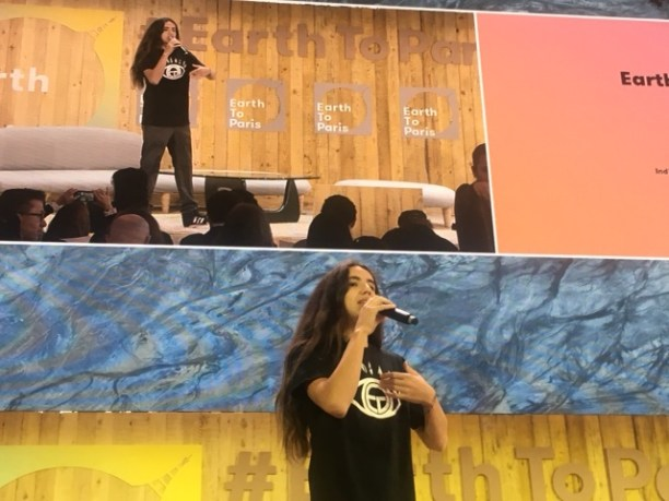 Xiuhtezcatl Tonatiuh, Director of Earth Guardians, giving the opening address at #EarthToParis. (Photo Credit: Nicole Landers)