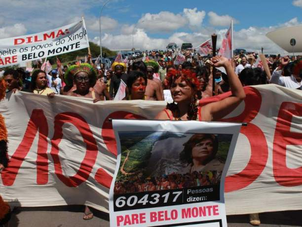 Amazonian indigenous leaders and dam-affected people demonstrate against the Belo Monte Dam. (Photo via Amazon Watch)