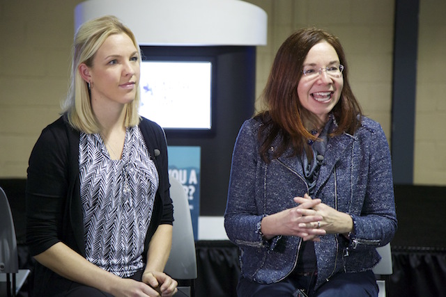 Professors Jenni Vanos (left) and Katharine Hayhoe (right) at Earth Day Texas 2016. (Photo Credit: Rick Baraff)