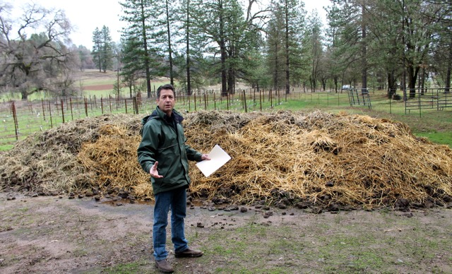 Narrow Gate Vineyards uses this 40-ton manure/compost pile as natural fertilizer for their vineyards. (Photo Credit: Michael Cervin)