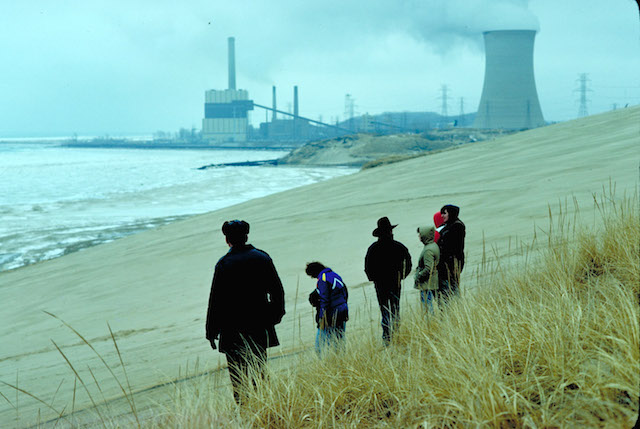 Lake Michigan dunes with power plant in background. (Photo via epa.gov)