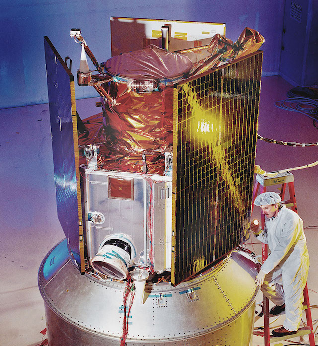 The IKONOS satellite being built at Lockheed Martin's Sunnyvale, CA facility. IKONOS was launched on Sept. 24, 1999. (Photo via SpaceFellowship.com)