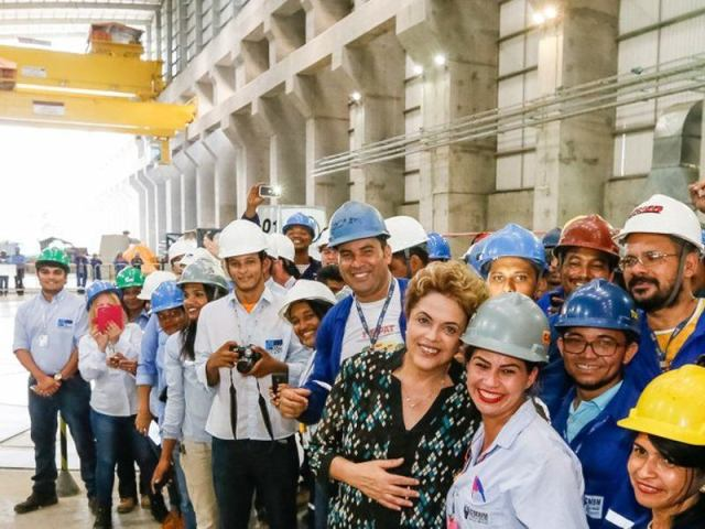 President Dilma Rousseff celebrating the launch of the Belo Monte monster dam. (Photo via Amazon Watch)