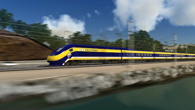 Computer-generated image of the proposed high-speed train for use in California. (Photo Credit: California High-Speed Rail Authority)