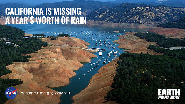 "The drought in California has added up to a 20"" precipitation debt. A new NASA study has concluded California accumulated a debt of about 20 inches of precipitation between 2012 and 2015, which is the average amount expected to fall in the state in a single year. (Photo Credit: NASA)"