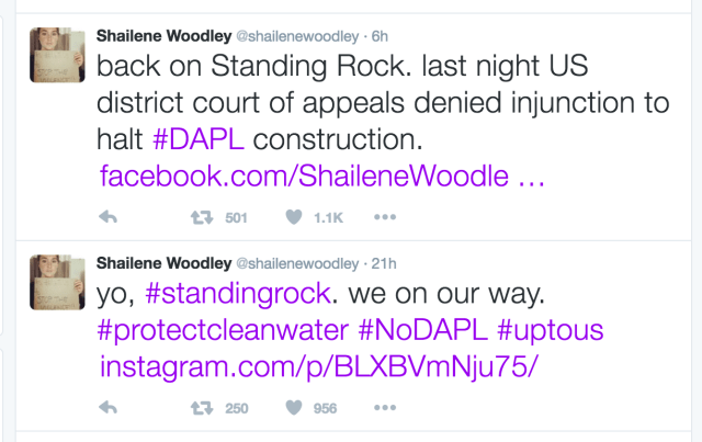 Tweets from Shailene Woodley's Twitter account on Sunday and Monday.