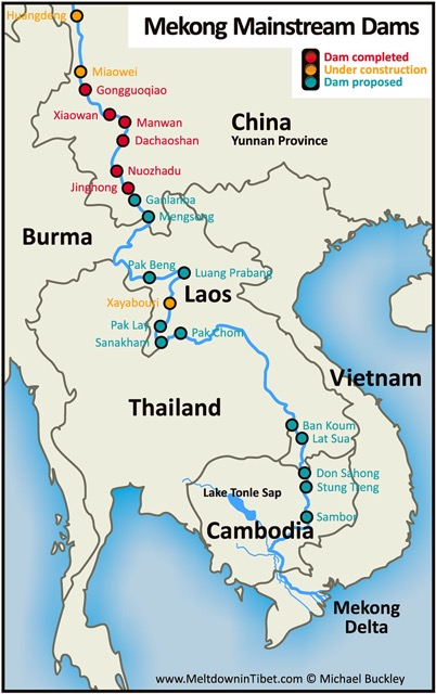 Before the ink is dry on this text, another dam is under construction. This map needs updating because work has started on Don Sahong Dam, on the Mekong in Laos right near its border with Cambodia. The work is done by a Malaysian company in collaboration with Chinese consortiums Sinohydro and PowerChina. Initial work has completely blocked a channel that is an important fish migration route. Why sacrifice fish supply for a 260-MW dam? Which will have a major impact on Cambodia downstream, where fish is a major source of protein.