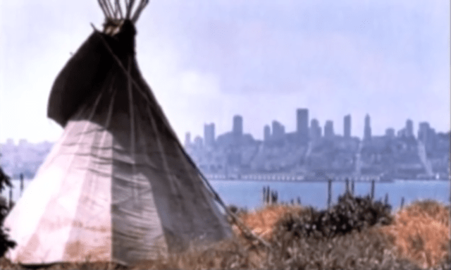 A tipi on Alcatraz looking towards San Francisco. (Photo: 'We Hold the Rock' / YouTube)