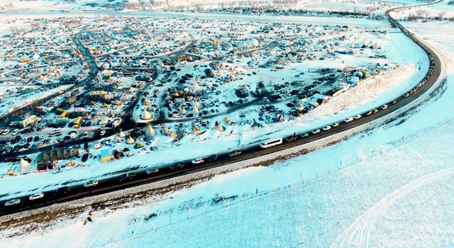 A #NoDAPL protest camp along the banks of the Missouri River in North Dakota. (Photo: Jerry Anderson Aerial Photography)