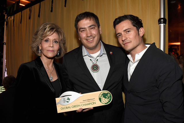 Actress Jane Fonda, chairman Chad Harrison and actor Orlando Bloom attend the 14th Annual Global Green Pre-Oscar Party at TAO Hollywood on February 22, 2017 in Los Angeles, California. (Photo by Frazer Harrison/Getty Images for Global Green)
