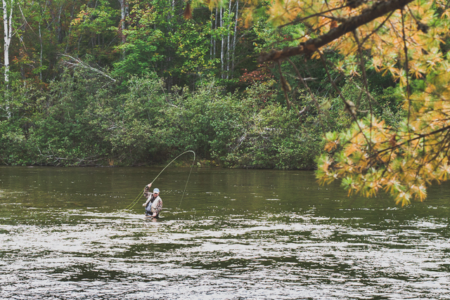 An angler prepares to net a salmon in Grand Lake Stream, Maine. Although it was already mid-October and the season was set to close in a couple days, most salmon had yet to leave the lake for the stream because its waters were too warm. (Photo: Brian Klonoski / Planet Experts)