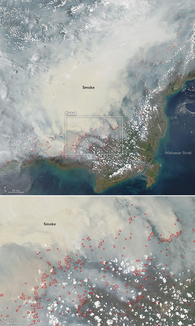 Heavy smoke from peat fires in Borneo chokes Indonesia in 2015. (Photo: NASA Earth Observatory)