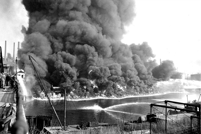 The Cuyahoga River on fire near Cincinnati, Ohio, in 1969.