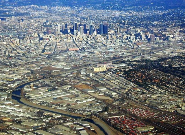 The Los Angeles River cutting through East Los Angeles. (Photo Credit: kla4067 / Flickr)