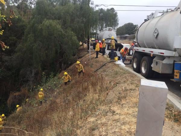 Tending to the Ventura spill. (Photo Credit: Ventura County Fire Department)