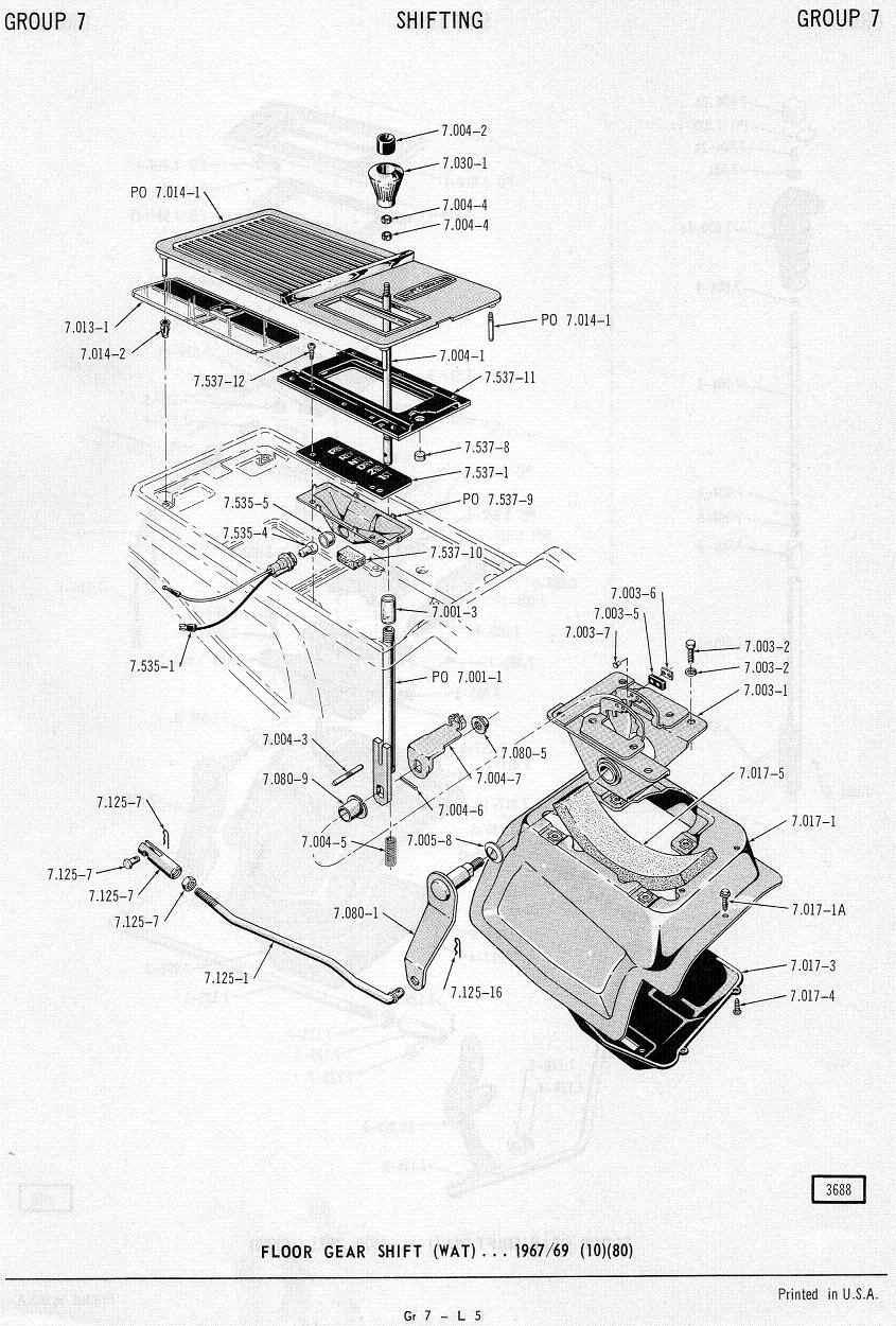 Amc 68 69 automatic console floor mount shifter borg warner m 11 m12