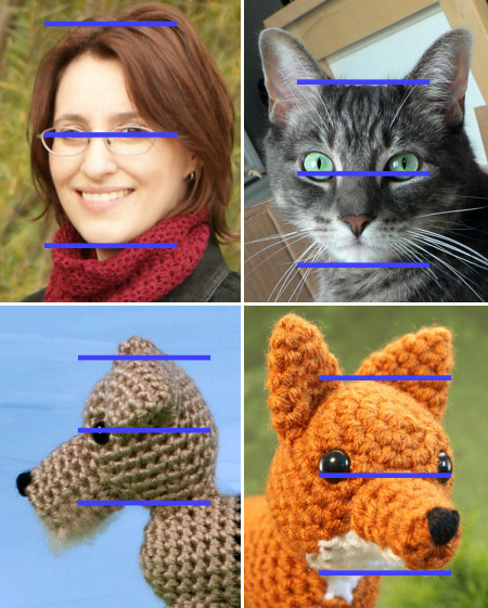 positioning facial features for amigurumi, by planetjune