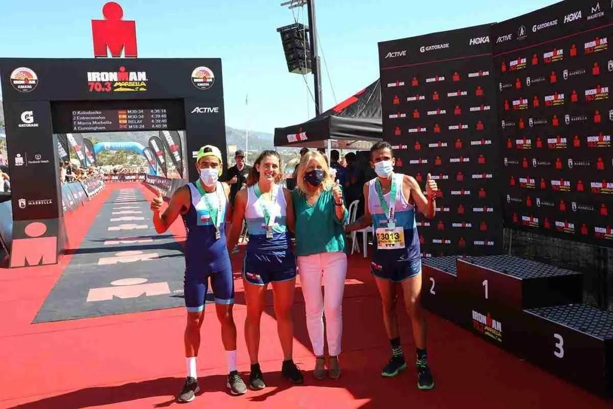 The mixed relay team at Ironman