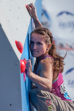 Anna Stöhr winning the second stage of the Bouldering World Cup 2014 at Baku