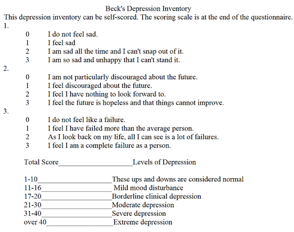 Beck's Depression Inventory is often used to assist depression diagnosis