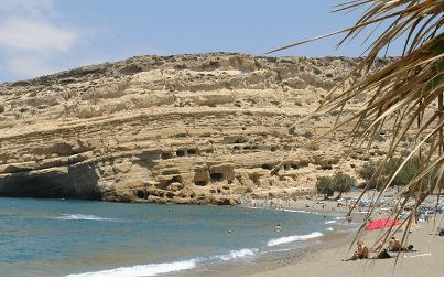 Matala, la spiaggia e la scogliera