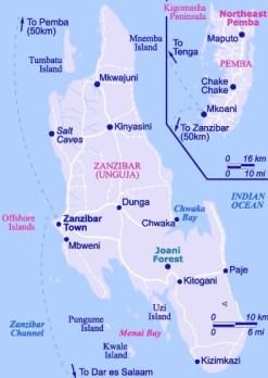Mappa di Zanzibar