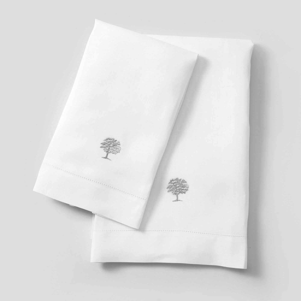 Embroidered Linen Hand Towels Plane Tree Farm