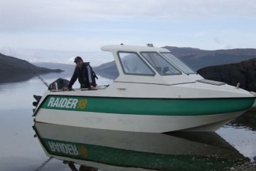 a Raider 18 boat on Luch Sunart