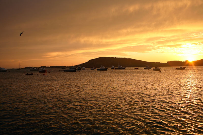 Braye harbour at sunset