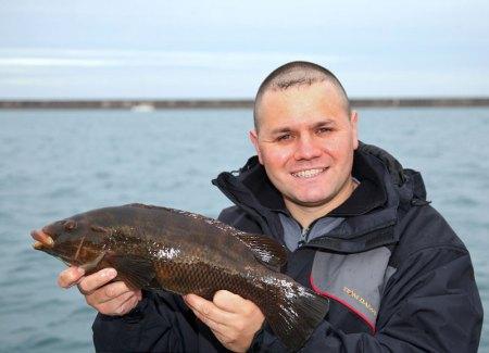 Steve Souter with a Braye harbour ballan