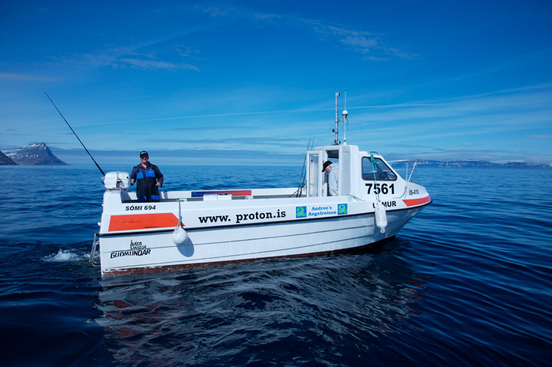 a Somi hire boat in Iceland on flat clam seas